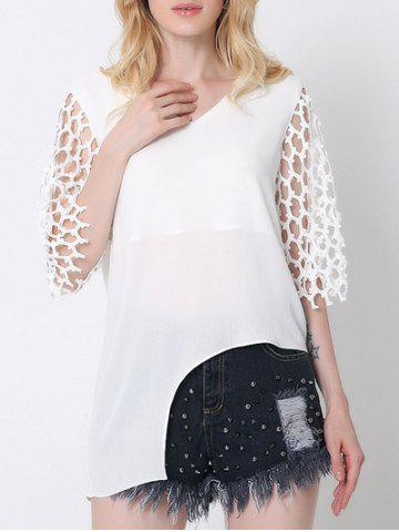 New Novelty Splicing Cut Out Asymmetric Blouse
