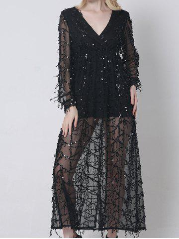 Sheer Long Sleeve Sequin Slit Maxi Prom Dress - Black - Xl