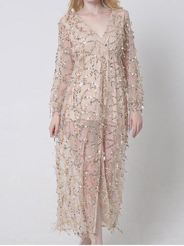 Sheer Long Sleeve Sequin Slit Maxi Prom Dress - Apricot - M