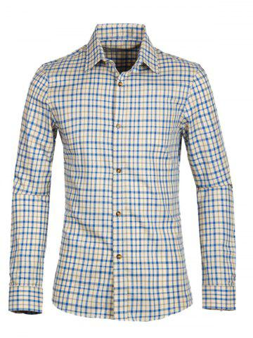 Fashion Gingham Turn-down Collar Long Sleeve Shirt For Men