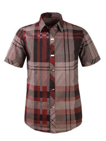 Store Plaid Snap Button Turn-down Collar Short Sleeve Shirt For Men WINE RED 3XL