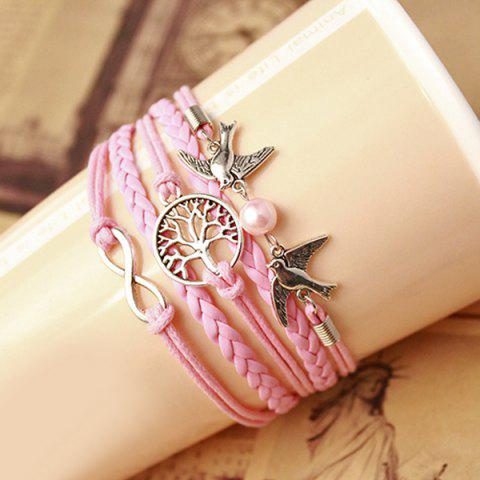 Trendy Tree of Life Infinity Friendship Bracelet - PINK  Mobile