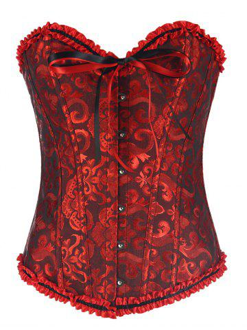 Alluring Lace-Up Slimming Women's Corset - Red With Black - M
