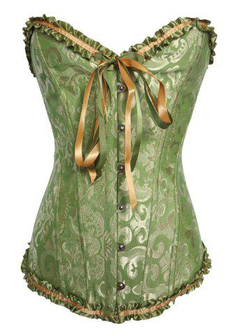 Alluring Lace-Up Slimming Women's Corset - Green - S