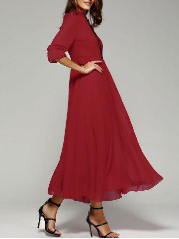 Discount Stand Collar Long Swing Chiffon Formal Prom Maxi Dress RED XL