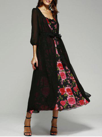 Hot Printed Cami Dress+ Black Kimono BLACK XL