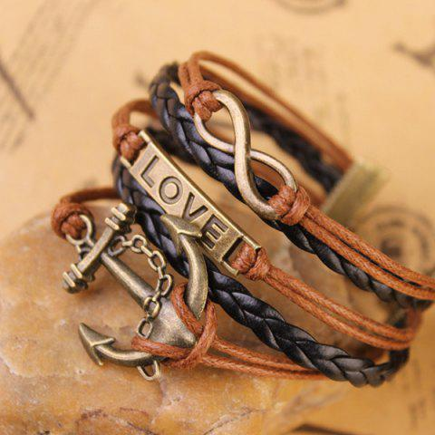 Fashion Stylish Anchor Infinite Strand Bracelet - COFFEE  Mobile