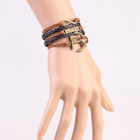 Buy Stylish Anchor Infinite Strand Bracelet - COFFEE  Mobile