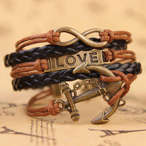 Hot Stylish Anchor Infinite Strand Bracelet - COFFEE  Mobile