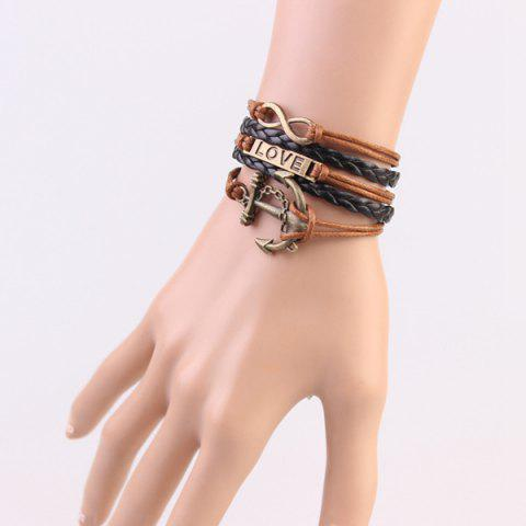 Store Stylish Anchor Infinite Strand Bracelet - COFFEE  Mobile