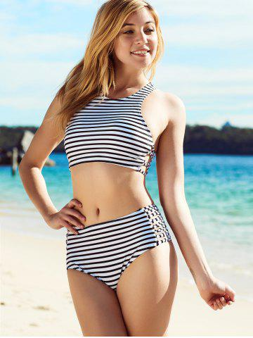 Discount Stylish Striped Hollow Out Bikini Set For Women