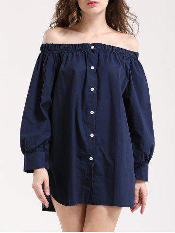 Store Elegant Women's Off-The-Shoulder Buttoned Blouse