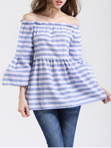 Buy Graceful Women's Striped Off-The-Shoulder Flare Sleeves Blouse LIGHT BLUE L