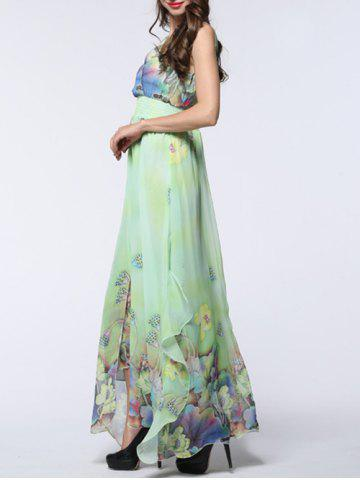 Shop Boho Floral Asymmetric Chiffon Maxi Swing Beach Dress - 6XL LIGHT GREEN Mobile