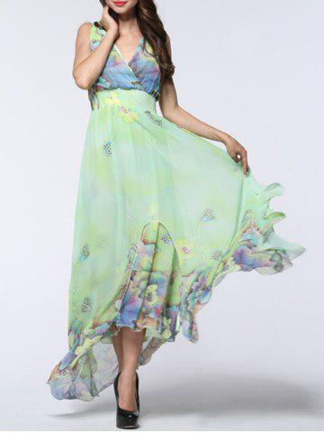 Fancy Floral Asymmetric Chiffon Maxi Flowy Dress - 6XL LIGHT GREEN Mobile