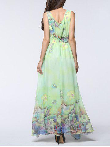 Hot Boho Floral Asymmetric Chiffon Maxi Swing Beach Dress - 6XL LIGHT GREEN Mobile