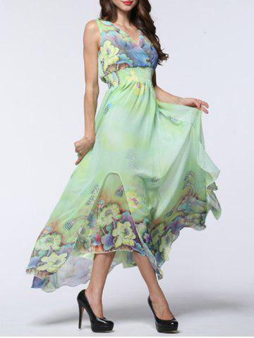 Store Boho Floral Asymmetric Chiffon Maxi Swing Beach Dress - 6XL LIGHT GREEN Mobile