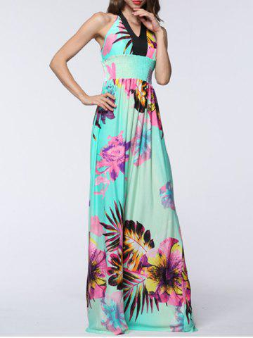 Trendy Plus Size Halter Backless Floral Maxi Prom Dress - 6XL MINT GREEN Mobile