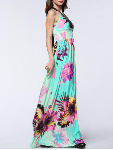Latest Plus Size Halter Backless Floral Maxi Prom Dress - 4XL MINT GREEN Mobile