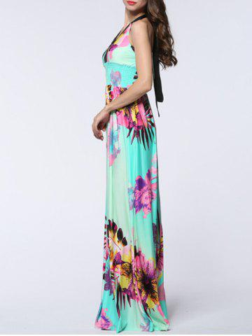 Latest Plus Size Halter Backless Floral Maxi Prom Dress - 3XL MINT GREEN Mobile