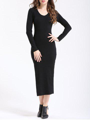 Trendy Chic Women's Pure Color Side Slit Slimming Dress BLACK M
