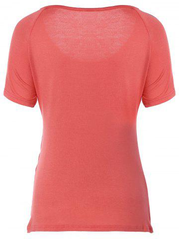 Best Ruched Plain Ruffled T-Shirt - XL WATERMELON RED Mobile