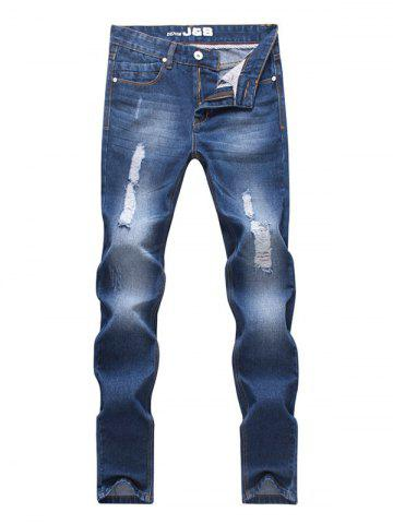 New Straight Leg Zipper Fly Scratch Ripped Jeans For Men BLUE 33
