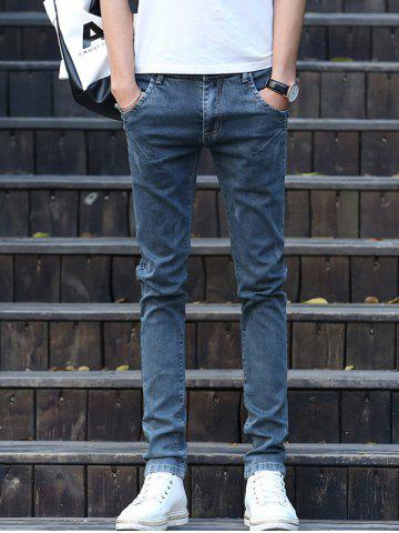 Solid Color Zipper Fly Scratch Button Embellished Jeans For Men
