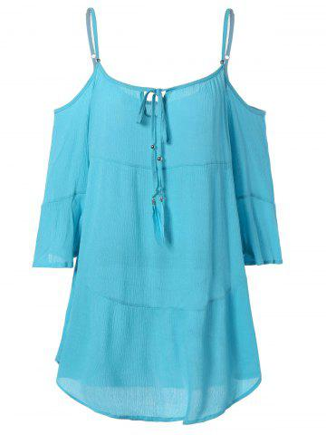 Chic Attractive Cold Shoulder Asymmetric Casual Dress LIGHT BLUE L