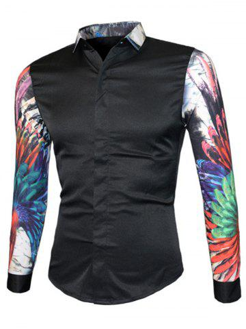 Best 3D Colorful Floral Print Splicing Design Long Sleeve Shirt For Men BLACK XL