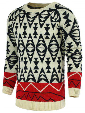Discount Round Neck Geometric Pattern Color Block Spliced Long Sleeve Sweater For Men