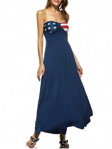 Affordable American Flag Print Strapless Maxi Dress