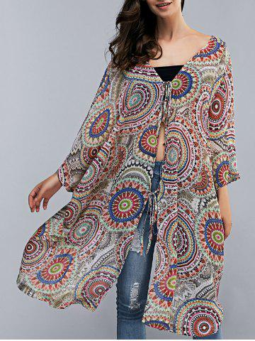 Shops Batwing Sleeve Tribal Print Long Kimono Cover Up