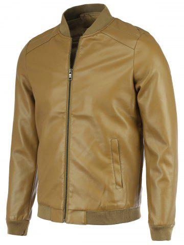Affordable PU-Leather+Polyester Solid Color Stand Collar Long Sleeve Jacket
