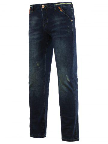 Best Jeans+Cotton Straight Leg Slimming Zipper Fly Denim Pants