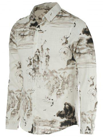 Trendy Landscape Paniting Print Turn-Down Collar Long Sleeve Shirt For Men