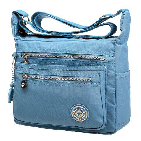 Best Simple Zippers and Nylon Design Shoulder Bag For Women - LIGHT BLUE  Mobile