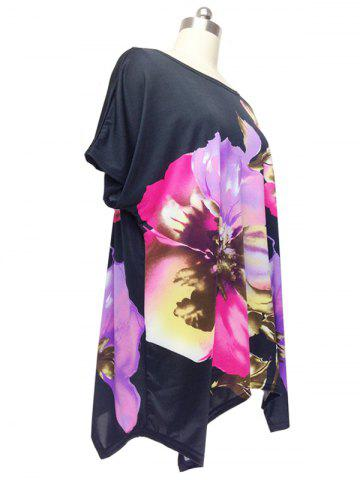Best Graceful Cap Sleeve Floral Blouse For Women - ONE SIZE BLACK Mobile