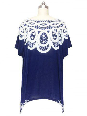 Shops Stunning Cap Sleeve Handkerchief Blouse For Women DEEP BLUE ONE SIZE