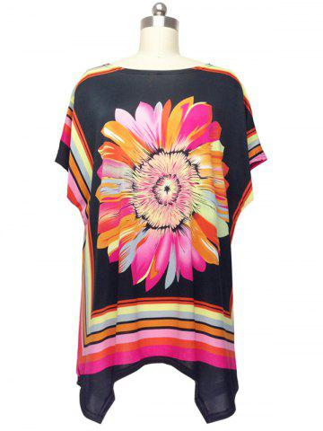 New Colorized Floral Cap Sleeve Blouse For Women COLORMIX ONE SIZE