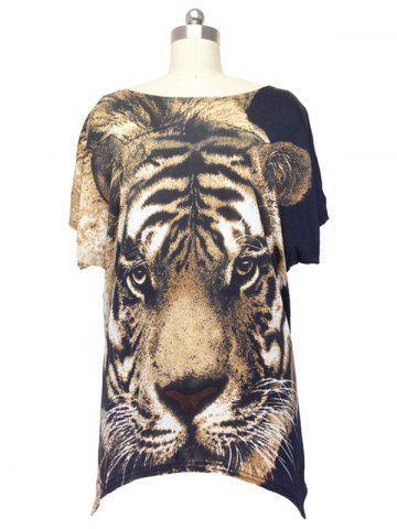 Store Trendy Tiger Print Loose Fitting Animal Print Blouse For Women