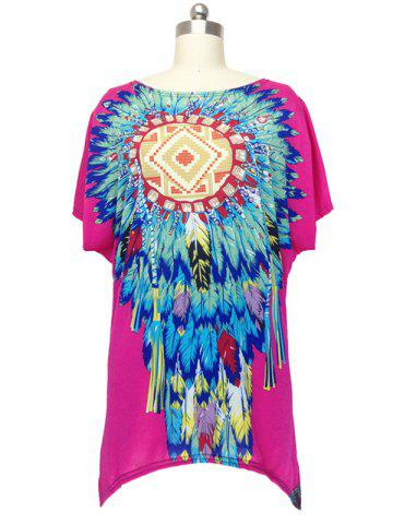 Shop Ethnic Feather Print Loose Fitting Blouse For Women ROSE RED ONE SIZE