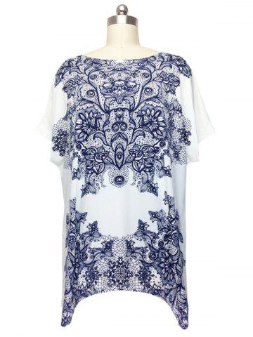 Best Stunning Cap Sleeve Floral Blouse For Women WHITE ONE SIZE