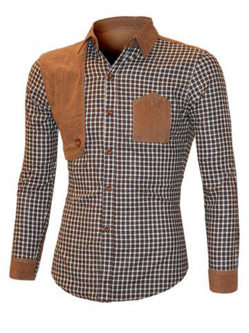 Online Suede Splicing Plaid Turn-Down Collar Long Sleeve Shirt For Men BROWN XL