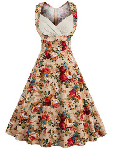 Retro Style High-Waisted Floral Print Women's Dress - Khaki - M