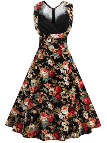 Best Retro Style High-Waisted Floral Print Women's Dress BLACK 4XL
