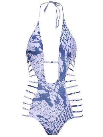 Unique Snakeskin Print Strappy One Piece Swimsuit WHITE L