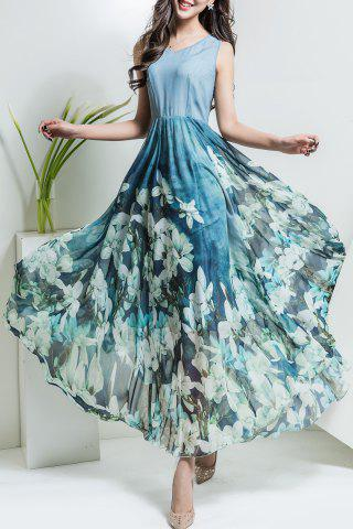 Unique Floral V Neck Maxi Chiffon Flowy Dress LIGHT BLUE 3XL