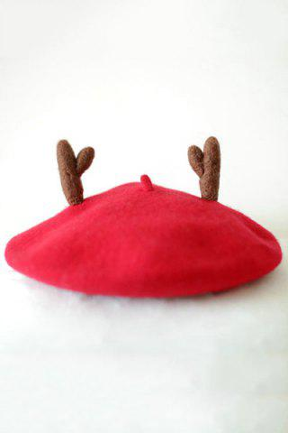 Shop Chic Christmas Deer Horn Felt Beret - RED  Mobile
