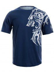 Tattoo Style Tiger Print Round Neck Short Sleeve T-Shirt For Men -